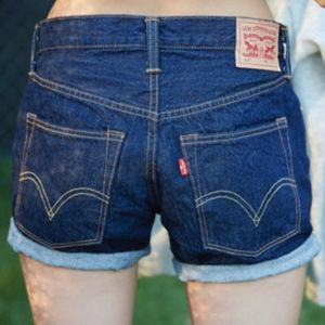 Levis 501 CT cut off shorts dark wash button fly